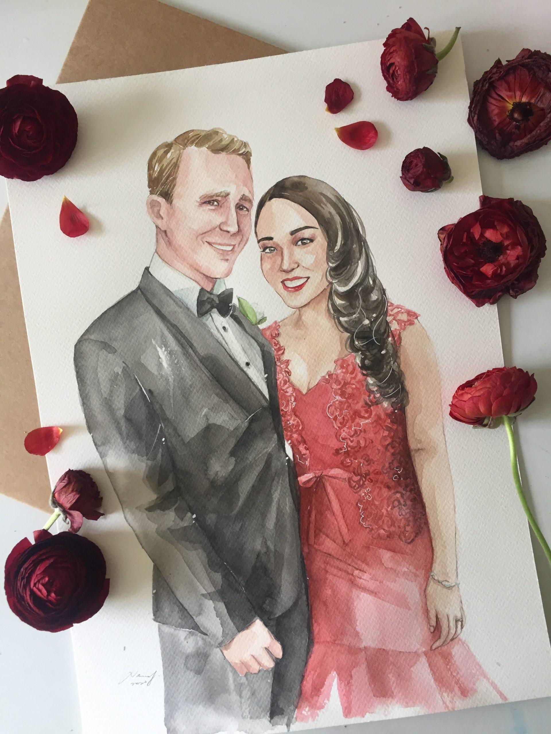 wedding portrait watercolour