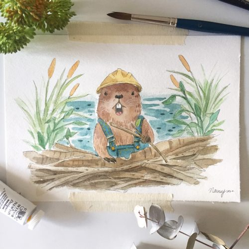mr beaver art print
